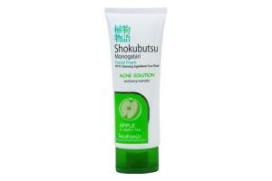 LION Shokubutsu Acne Solution пенка для умывания с экстрактом яблока и зеленым чаем (от прыщей, для жирной и комбинированной кожи)
