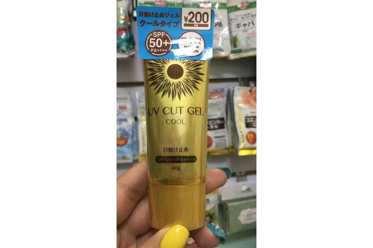 Daiso UV Cut Gel Cool SPF50+ солнцезащитный охлаждающий гель для лица