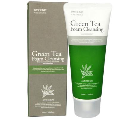 3W Clinic Green Tea Foam Cleansing пенка для умывания с зеленым чаем