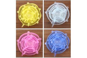 Набор пищевых силиконовых крышек, 6 шт (прозрачные)