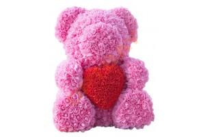 Мишка из роз (розовый с красным сердцем, 40 см)