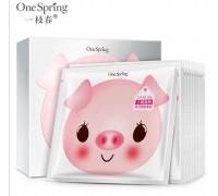 One Spring Small Pig маска со свиным коллагеном и йогуртом (белая)