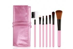 Набор кистей для макияжа BioAqua (7 шт) в розовом чехле
