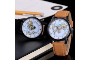 """Наручные кварцевые часы с циферблатом """"Карта мира"""""""