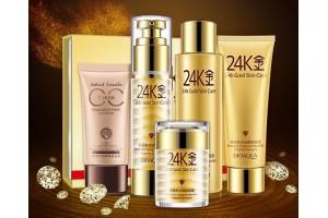 Подарочный набор по уходу за лицом с Био-золотом BioAqua 24K Gold Skin Care (5 предметов)
